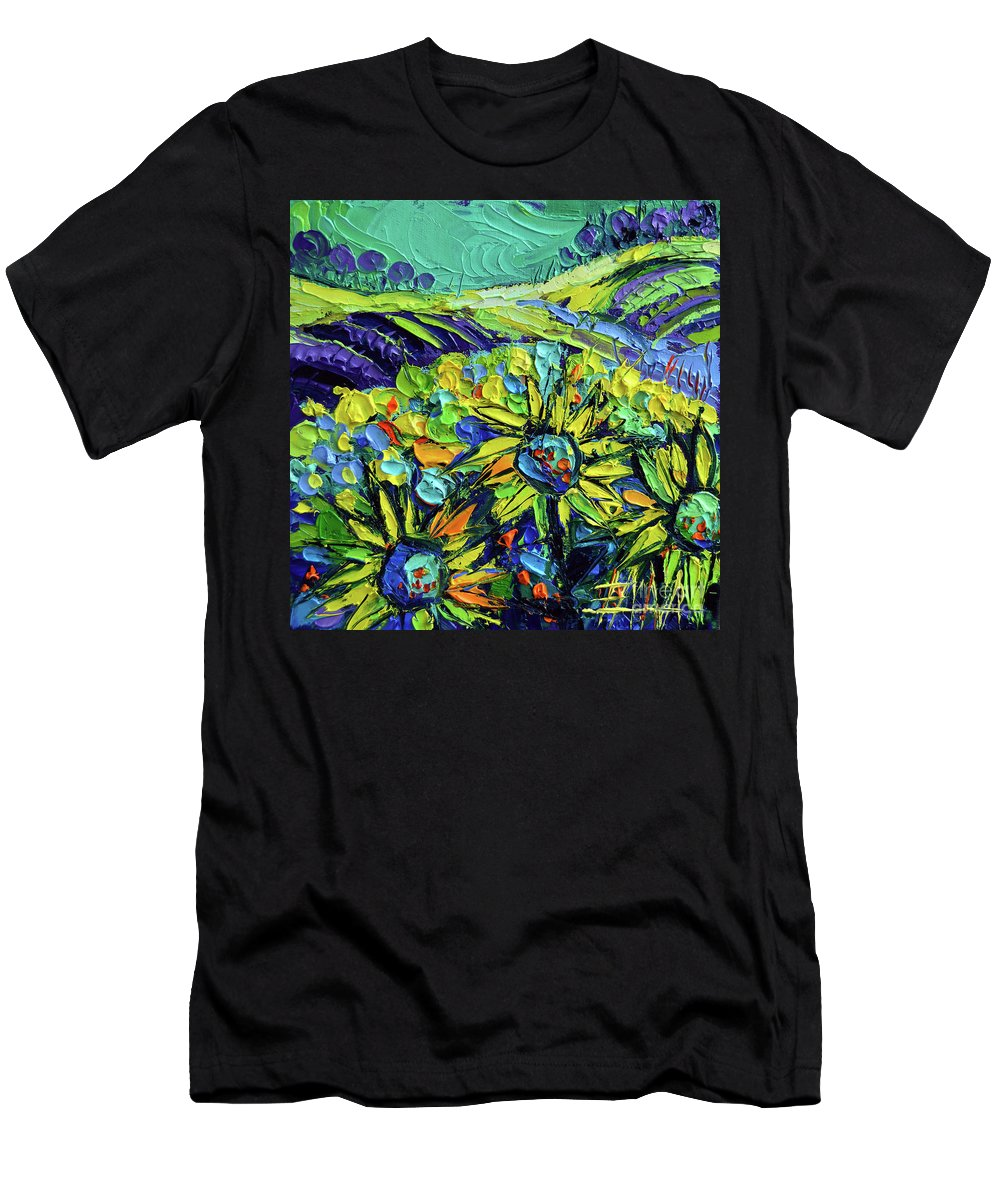 Summer In Provence Men's T-Shirt (Athletic Fit) featuring the painting Summer In Provence by Mona Edulesco