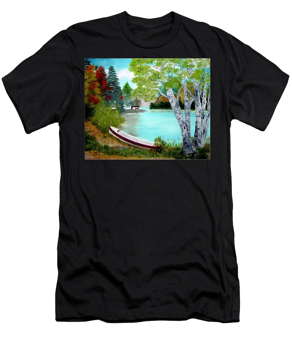 Beautiful Bracebridge Ontario Oil Painting T-Shirt featuring the painting Summer In The Muskoka's by Peggy Holcroft