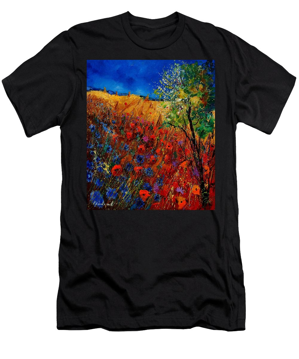 Flowers Men's T-Shirt (Athletic Fit) featuring the painting Summer Landscape With Poppies by Pol Ledent
