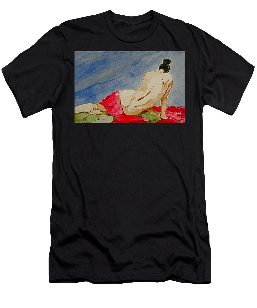 Nudes Red Cloth T-Shirt featuring the painting Summer morning 2 by Herschel Fall
