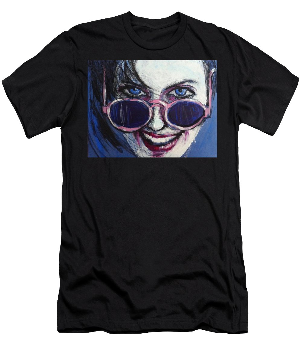 Summer Men's T-Shirt (Athletic Fit) featuring the painting Summer - Portrait Of A Woman by Carmen Tyrrell