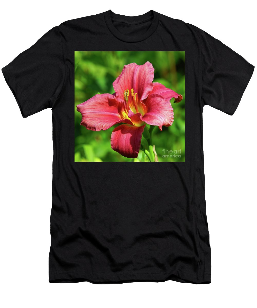 Green Men's T-Shirt (Athletic Fit) featuring the photograph Summer Red Lily by Robin Clifton