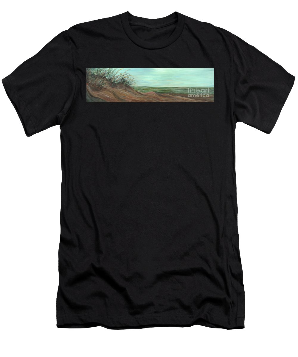 Summer T-Shirt featuring the painting Summer Sand Dunes by Nadine Rippelmeyer