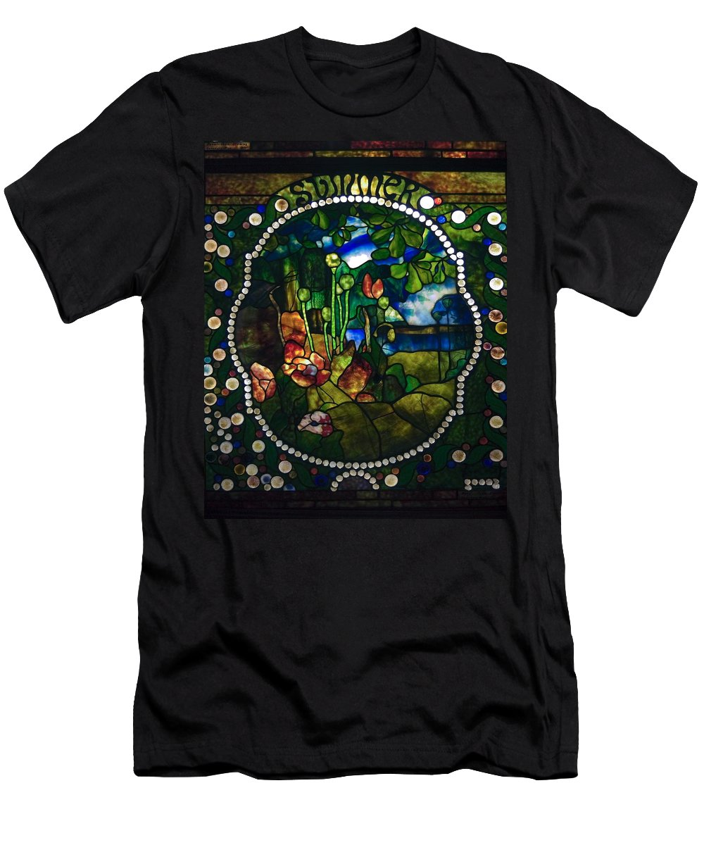 Stained Glass Panel Men's T-Shirt (Athletic Fit) featuring the photograph Summer Stained Glass Panel by Sally Weigand