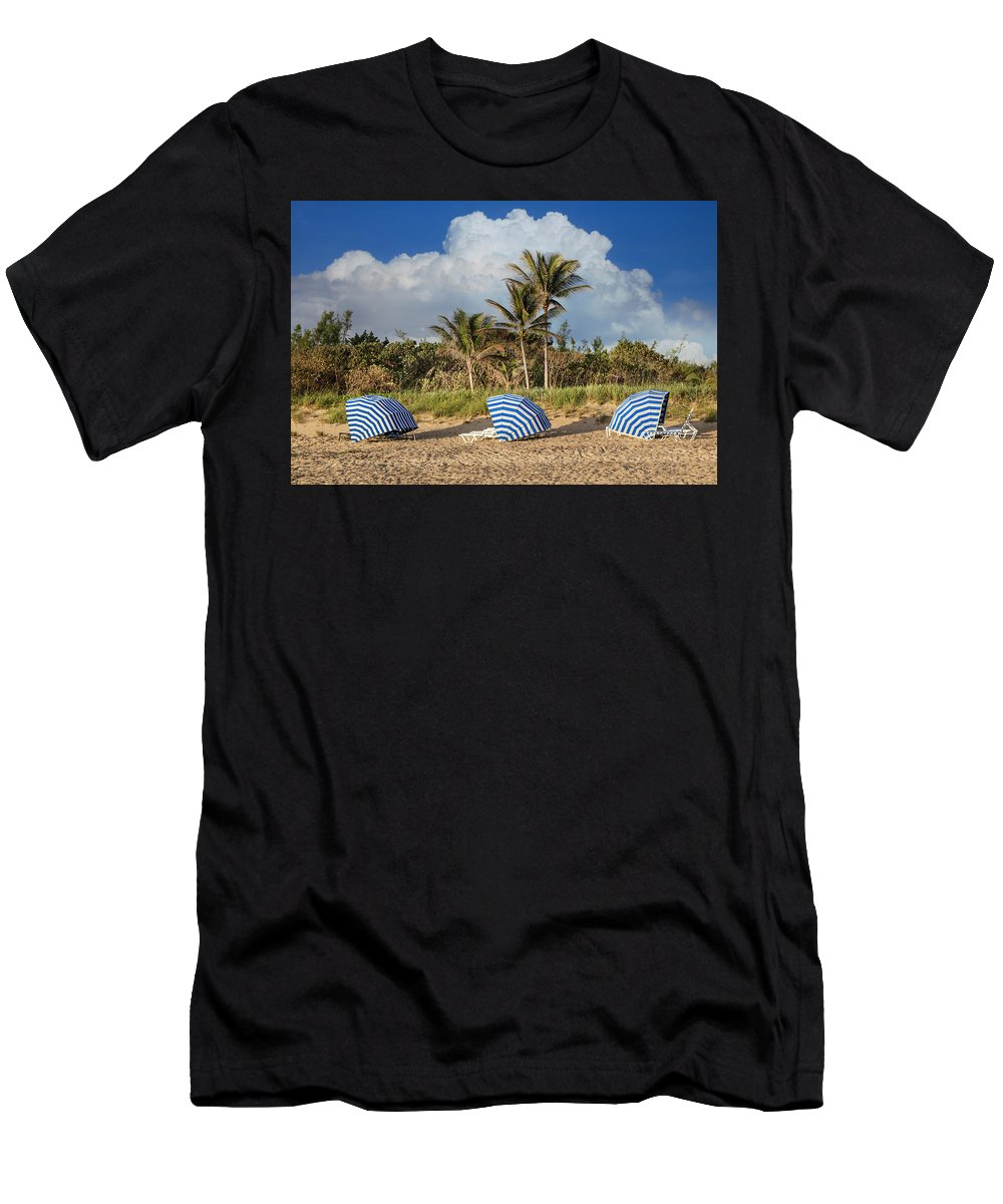 Clouds Men's T-Shirt (Athletic Fit) featuring the photograph Summer Stripes by Debra and Dave Vanderlaan