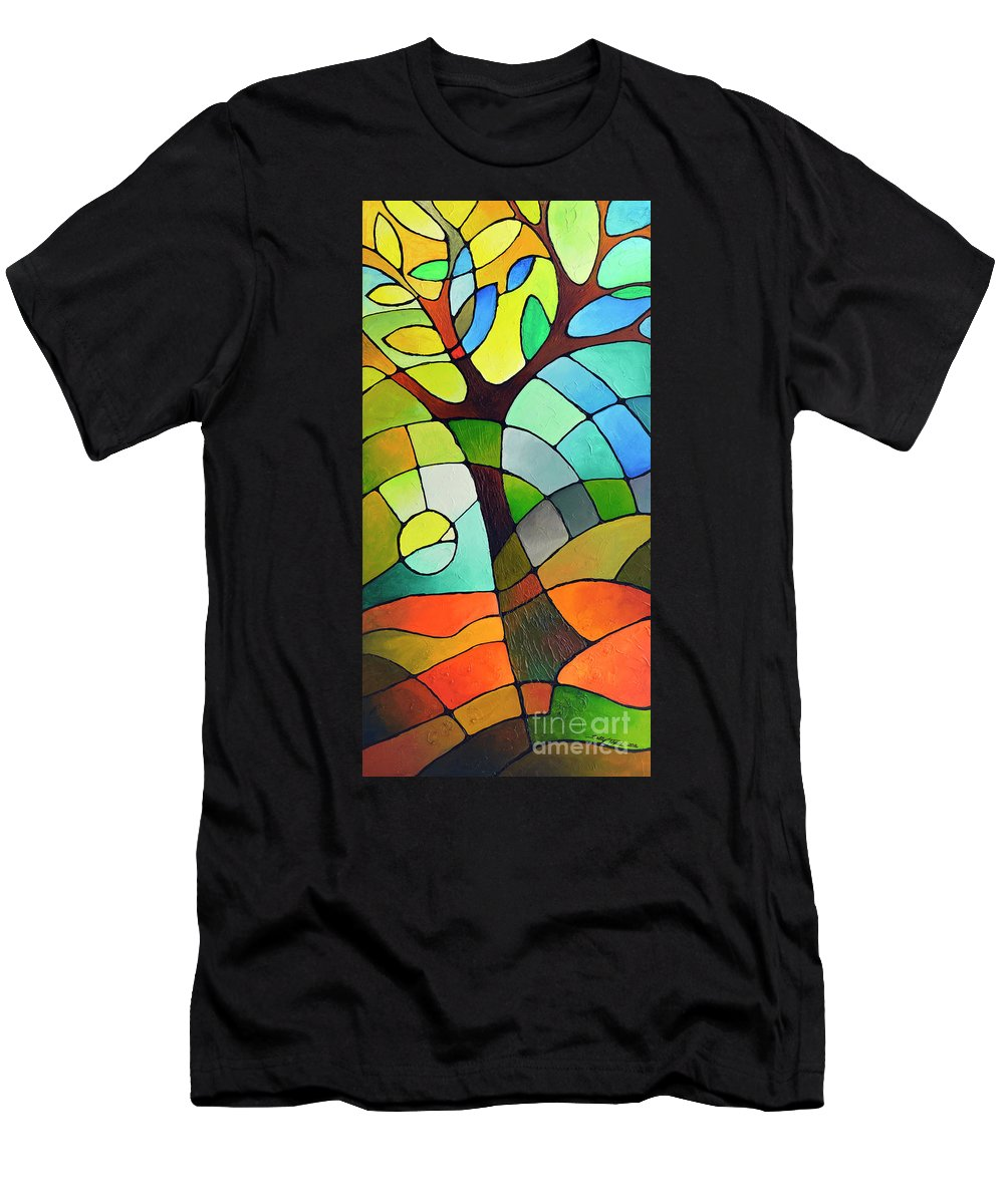 Geometric Men's T-Shirt (Athletic Fit) featuring the painting Summer Tree by Sally Trace