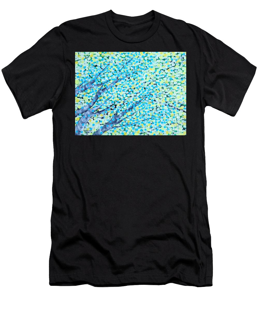 Trees Men's T-Shirt (Athletic Fit) featuring the painting Summer by Wonju Hulse