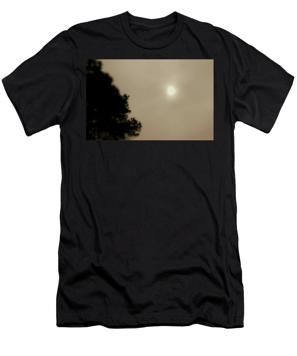 Fog Men's T-Shirt (Athletic Fit) featuring the photograph Sun Battles Fog by Kathy Barney