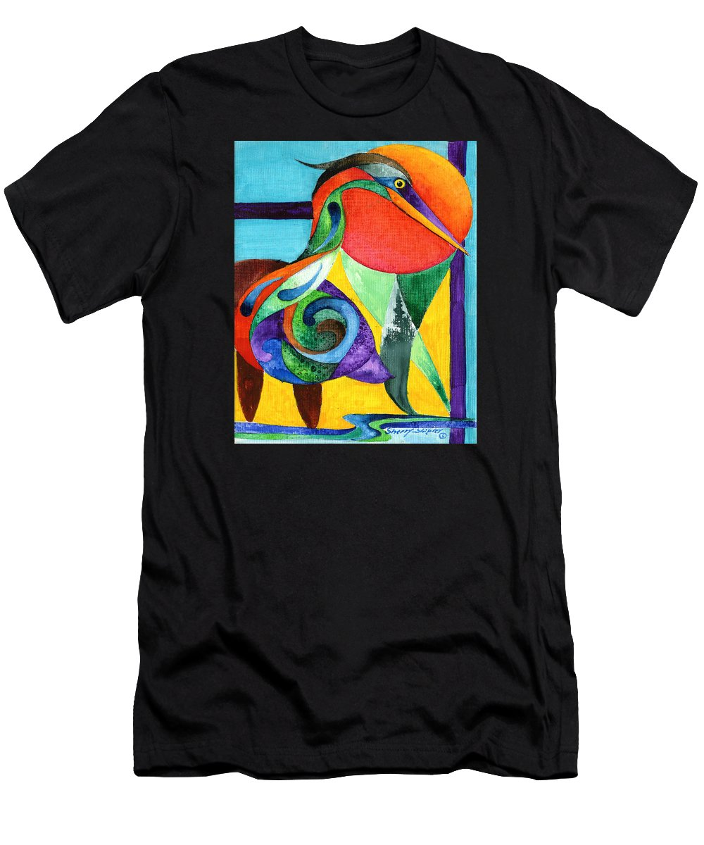 Heron Men's T-Shirt (Athletic Fit) featuring the painting Sun Bird by Sherry Shipley
