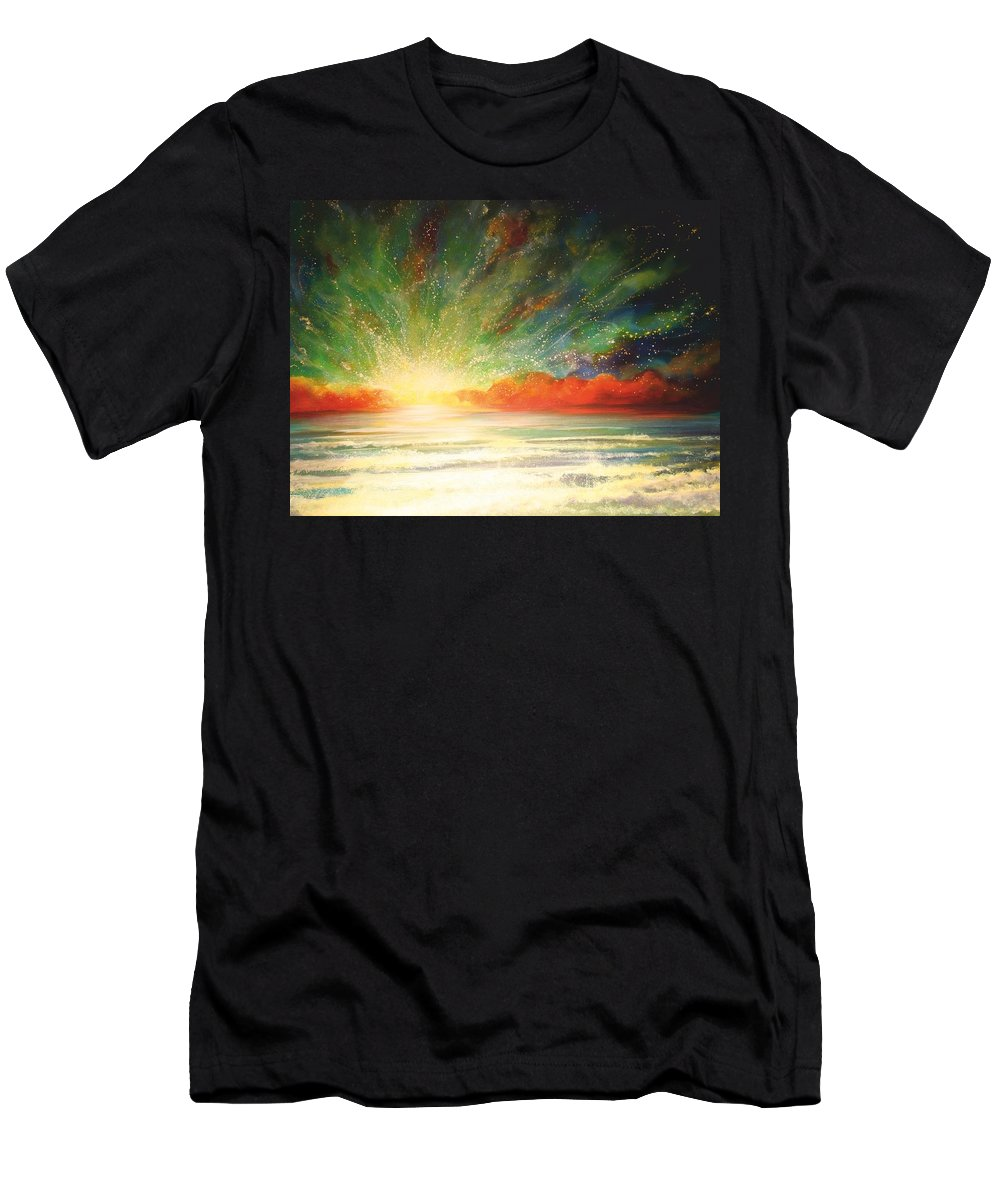 Sunset Men's T-Shirt (Athletic Fit) featuring the painting Sun Bliss by Naomi Walker
