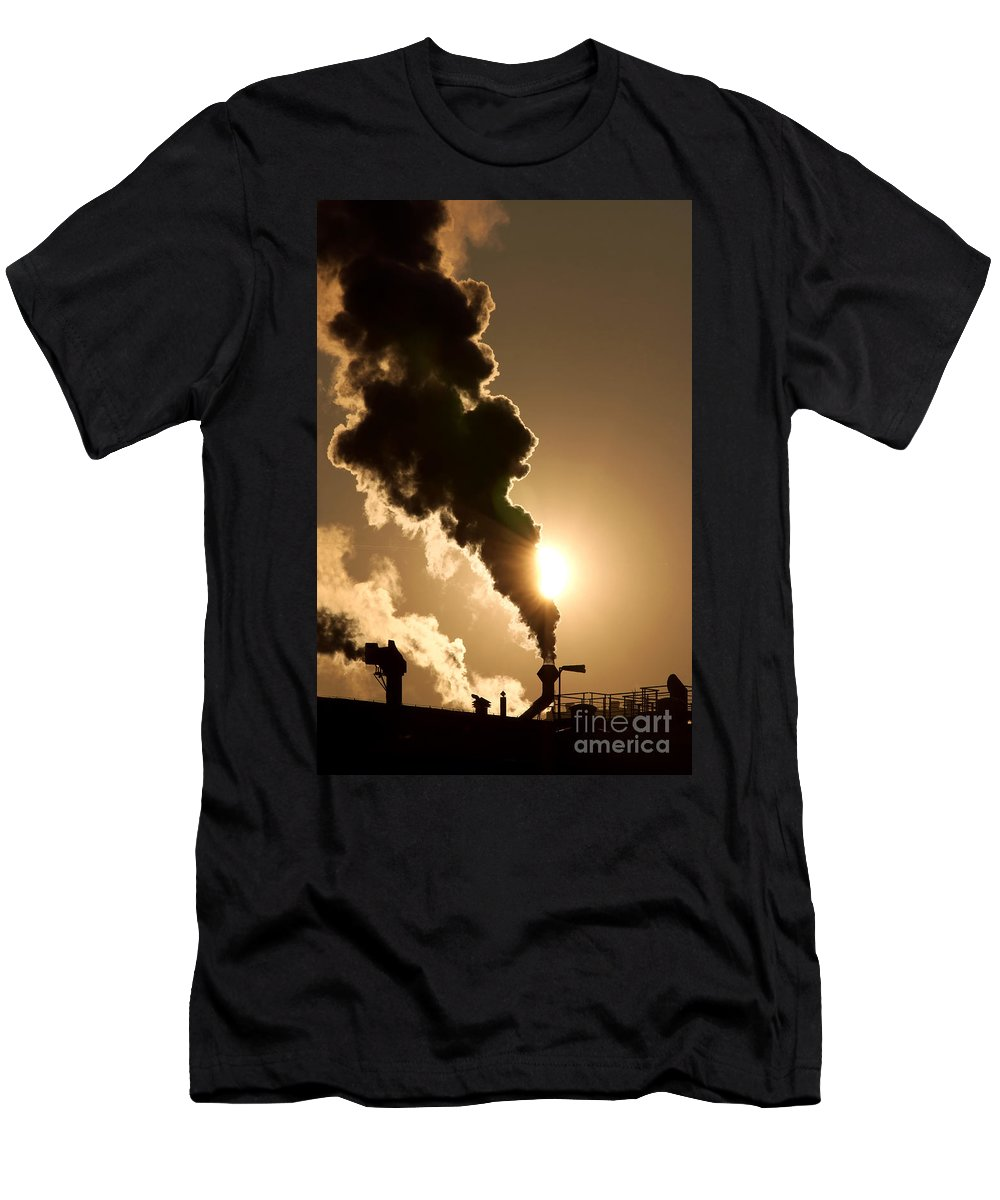Abstract Men's T-Shirt (Athletic Fit) featuring the photograph Sun Covered With Soot - Air Pollution by Michal Boubin