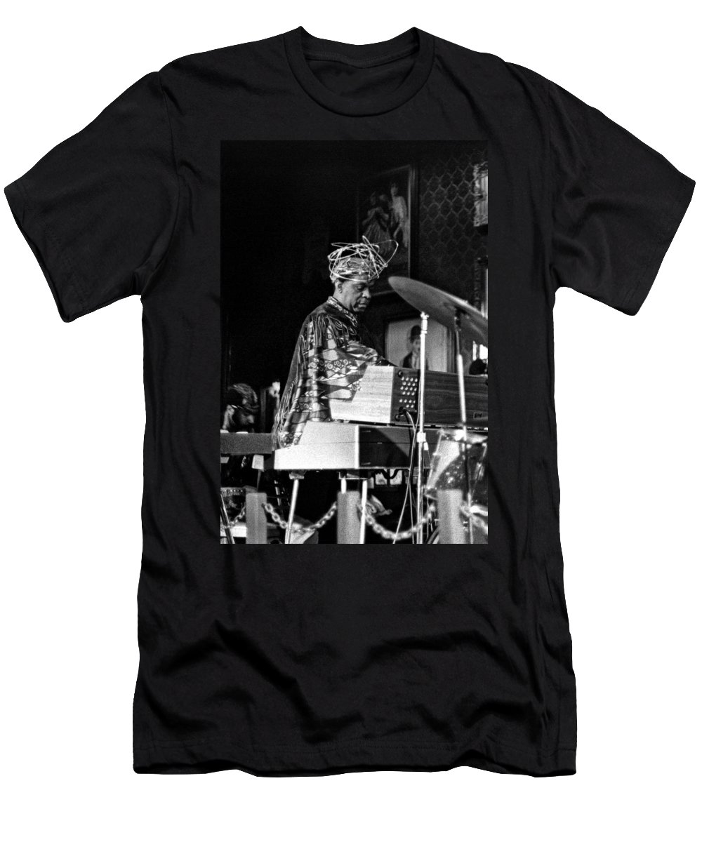 Sun Ra Arkestra At The Red Garter 1970 Nyc Men's T-Shirt (Athletic Fit) featuring the photograph Sun Ra 2 by Lee Santa