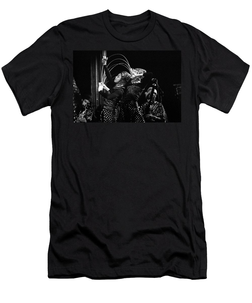 Sun Ra Men's T-Shirt (Athletic Fit) featuring the photograph Sun Ra Arkestra And Dancers by Lee Santa