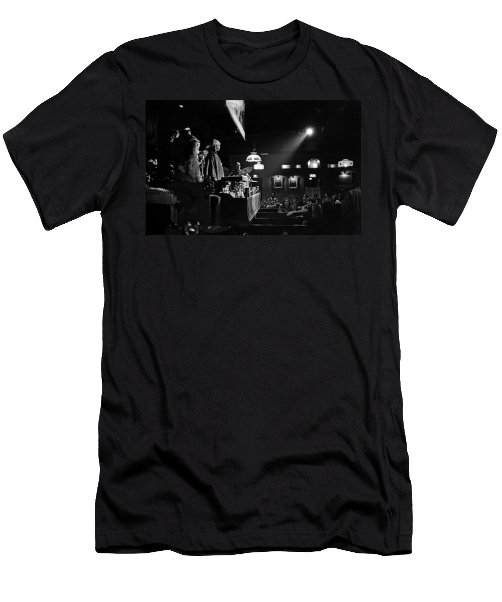 Jazz Men's T-Shirt (Athletic Fit) featuring the photograph Sun Ra Arkestra At The Red Garter 1970 Nyc 12 by Lee Santa