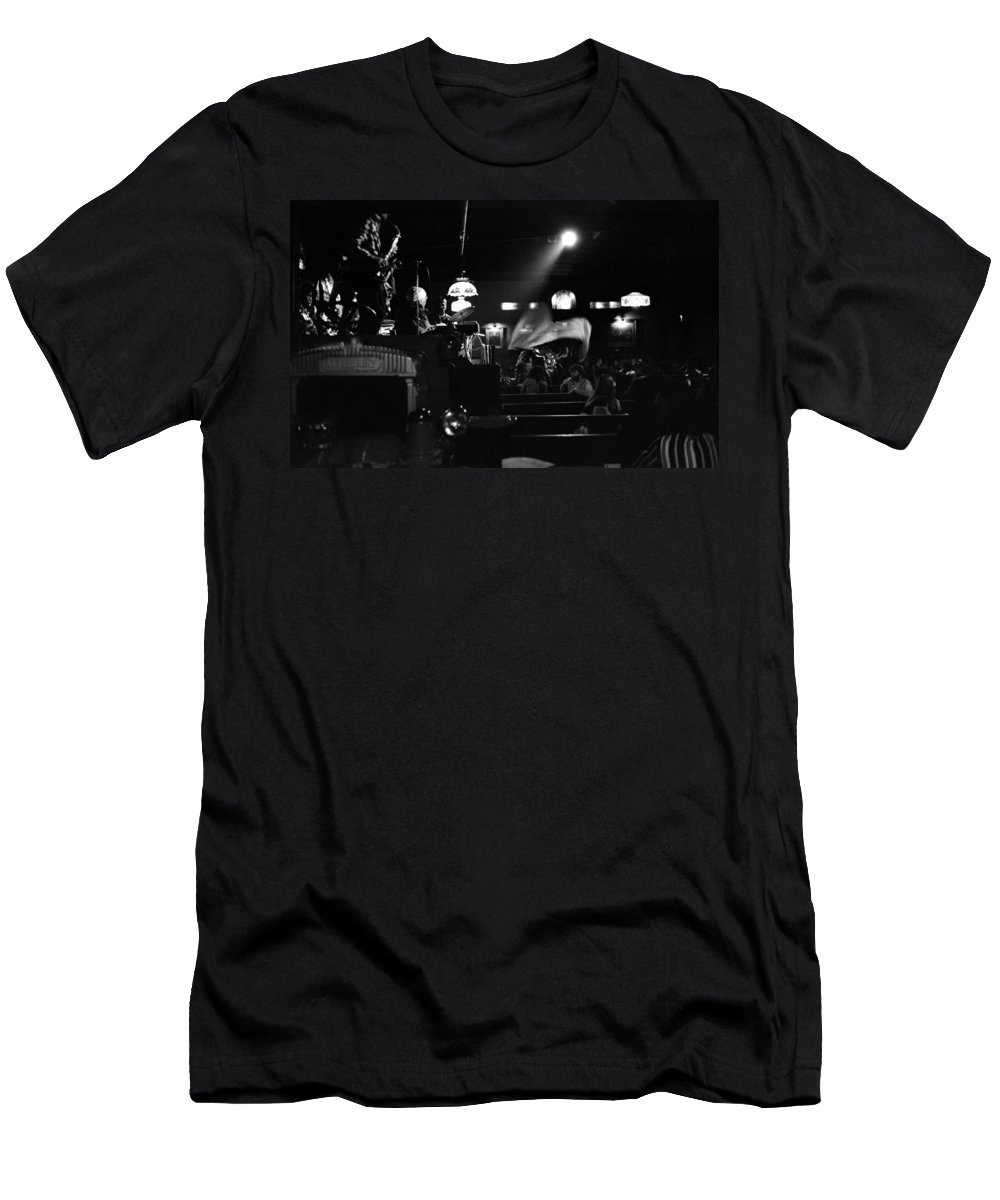 Men's T-Shirt (Athletic Fit) featuring the photograph Sun Ra Arkestra At The Red Garter 1970 Nyc 17 by Lee Santa