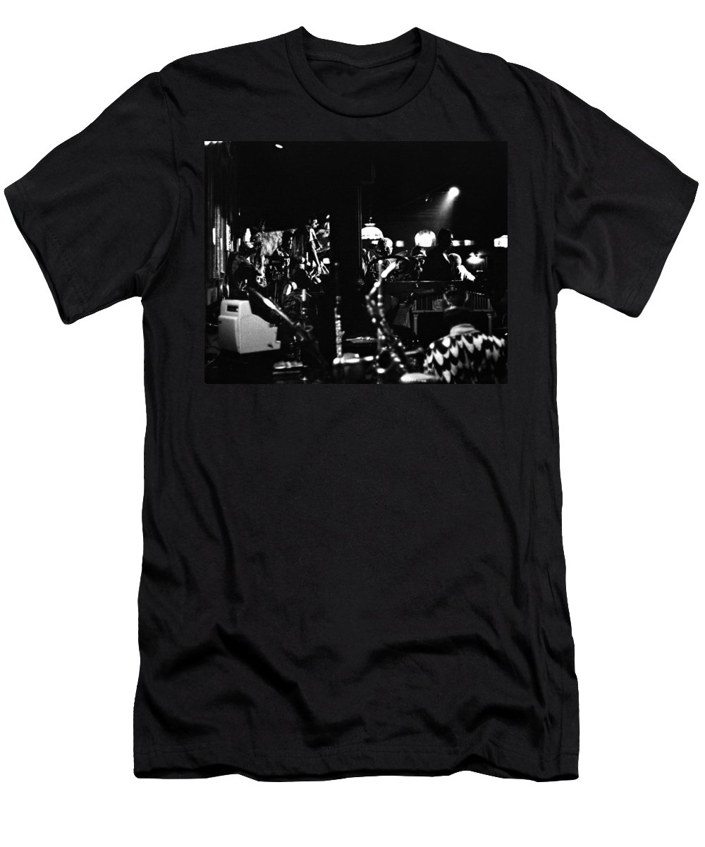 Men's T-Shirt (Athletic Fit) featuring the photograph Sun Ra Arkestra At The Red Garter 1970 Nyc 2 by Lee Santa