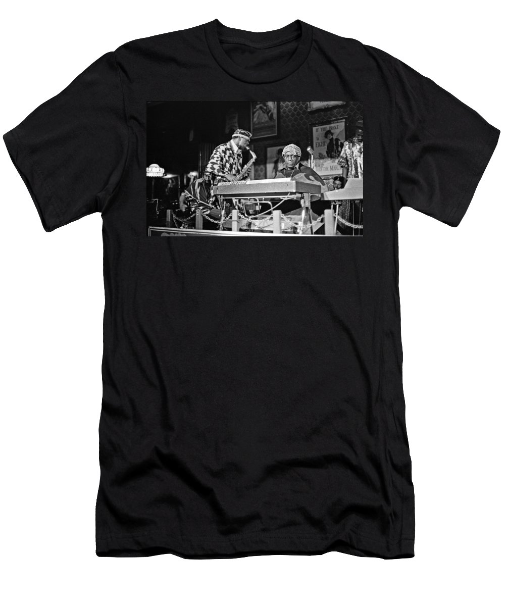 Jazz Men's T-Shirt (Athletic Fit) featuring the photograph Sun Ra Arkestra At The Red Garter 1970 Nyc 3 by Lee Santa