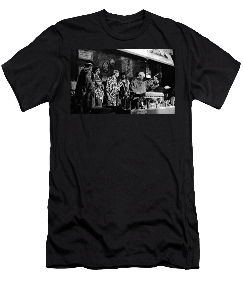 Jazz. B&w Men's T-Shirt (Athletic Fit) featuring the photograph Sun Ra Arkestra At The Red Garter 1970 Nyc 4 by Lee Santa