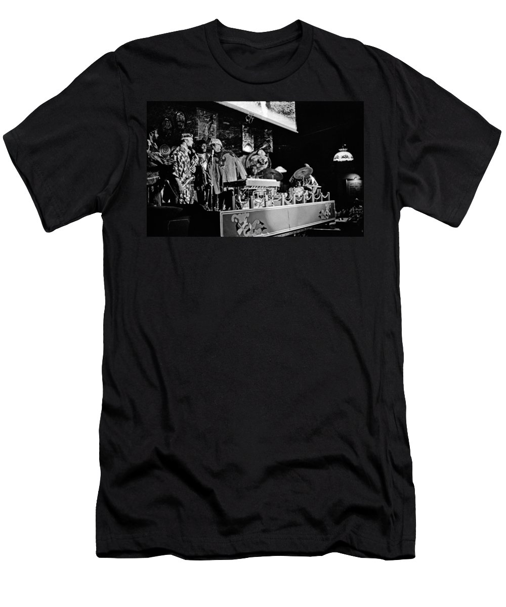 Jazz Men's T-Shirt (Athletic Fit) featuring the photograph Sun Ra Arkestra At The Red Garter 1970 Nyc 5 by Lee Santa