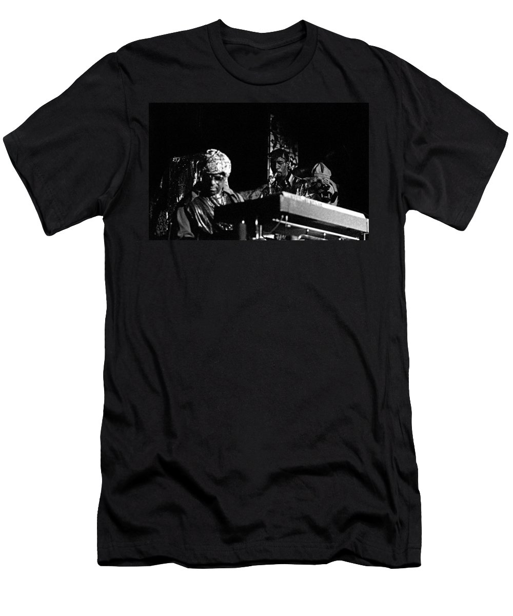 Jazz Men's T-Shirt (Athletic Fit) featuring the photograph Sun Ra Arkestra At The Red Garter 1970 Nyc 7 by Lee Santa