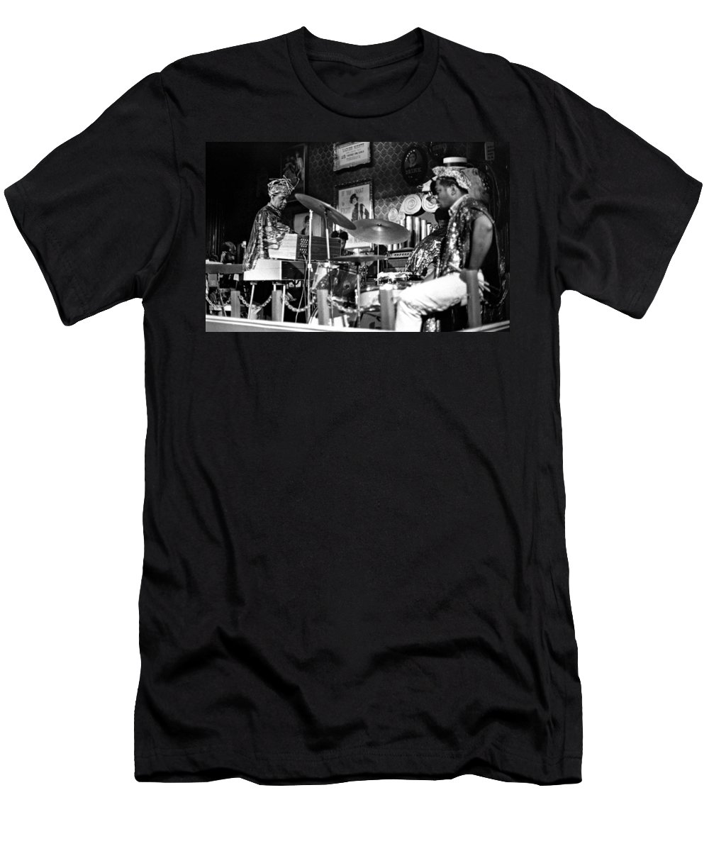 Jazz Men's T-Shirt (Athletic Fit) featuring the photograph Sun Ra Arkestra At The Red Garter 1970 Nyc 9 by Lee Santa