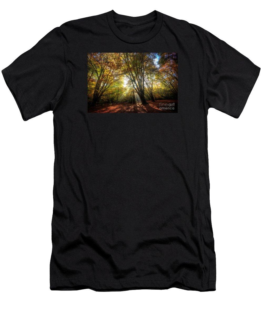 Autumn Men's T-Shirt (Athletic Fit) featuring the digital art Sun Rays by Nigel Bangert