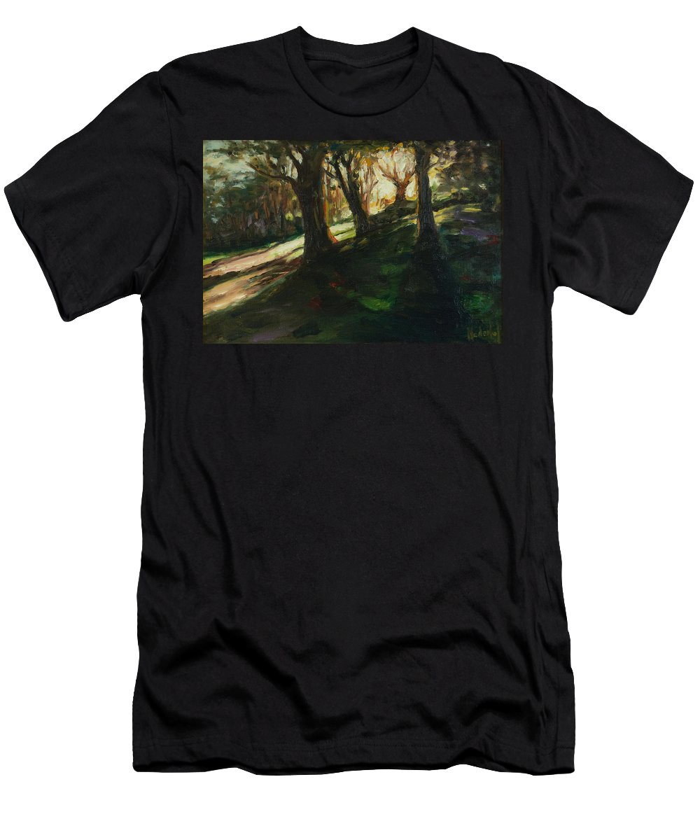 Trees Men's T-Shirt (Athletic Fit) featuring the painting Sun by Rick Nederlof