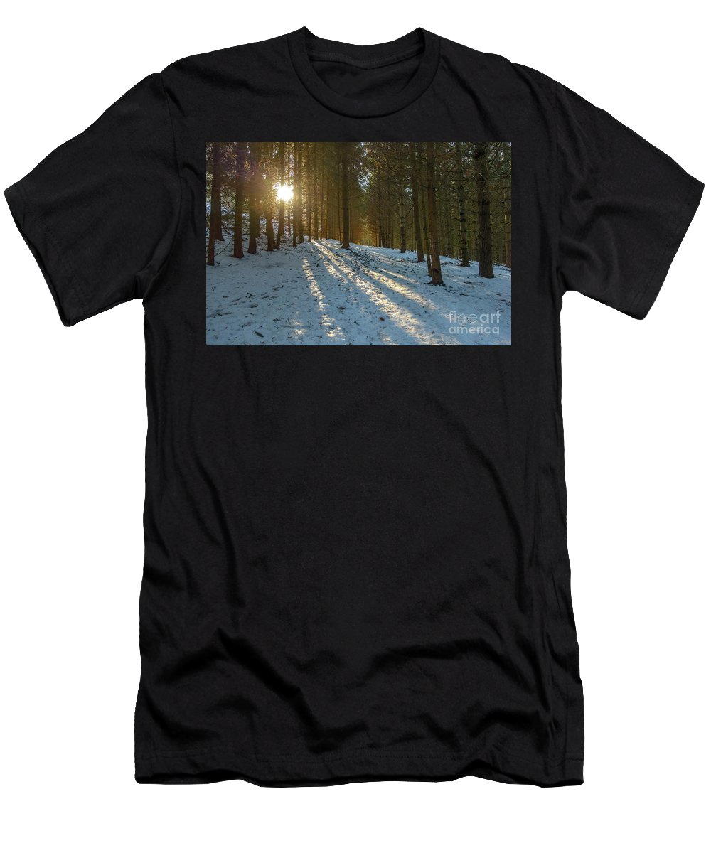 Winter Men's T-Shirt (Athletic Fit) featuring the photograph Sun Setting On Winter Woods by Norman Pogson