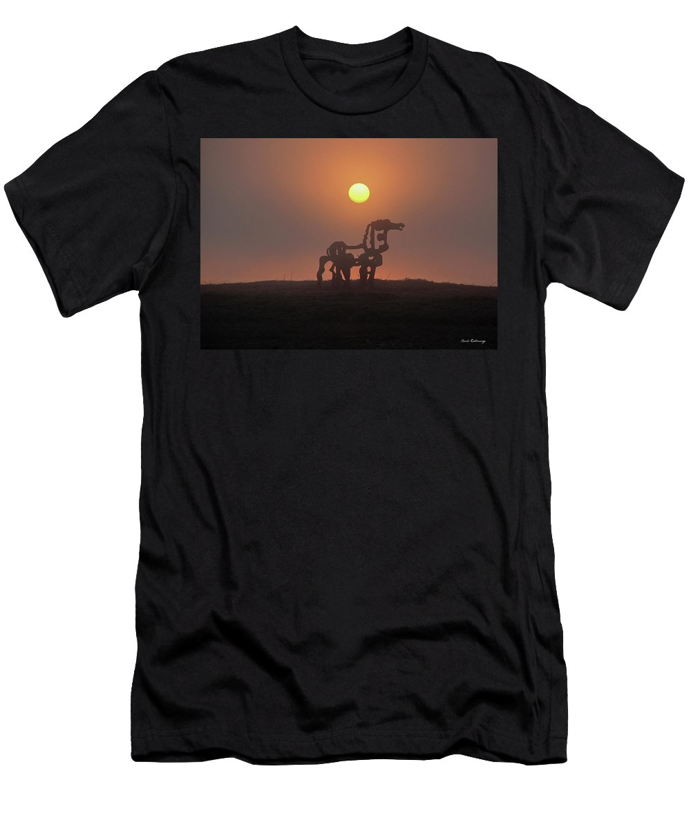 Reid Callaway Sun Up Men's T-Shirt (Athletic Fit) featuring the photograph Sun Up The Iron Horse Art by Reid Callaway