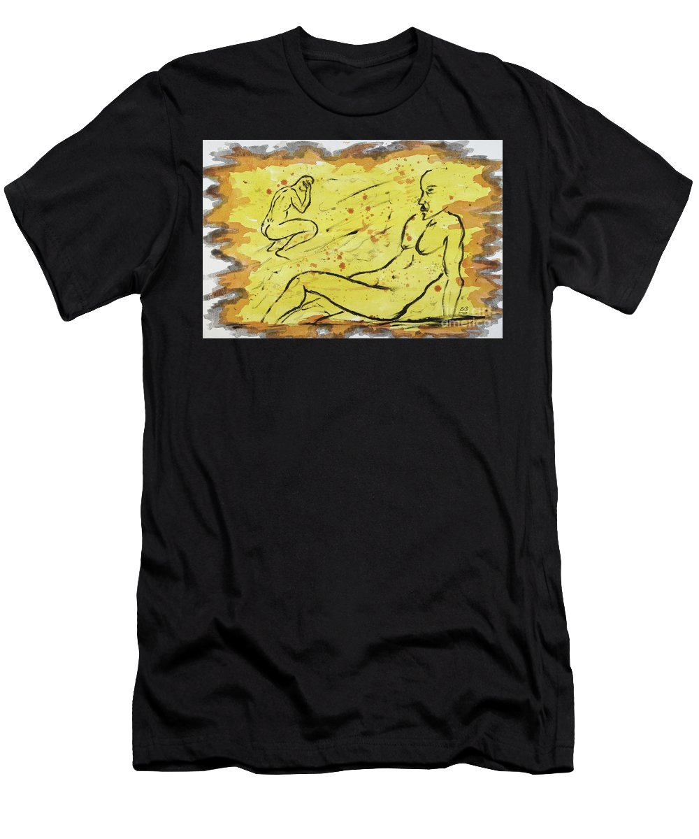 Sunbath Men's T-Shirt (Athletic Fit) featuring the painting Sunbathing Time by Erwin Bruegger