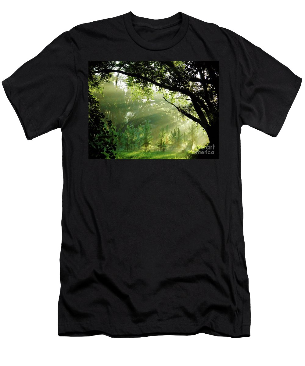 Sunrise Men's T-Shirt (Athletic Fit) featuring the photograph Sunbeams In The Forest by D Hackett