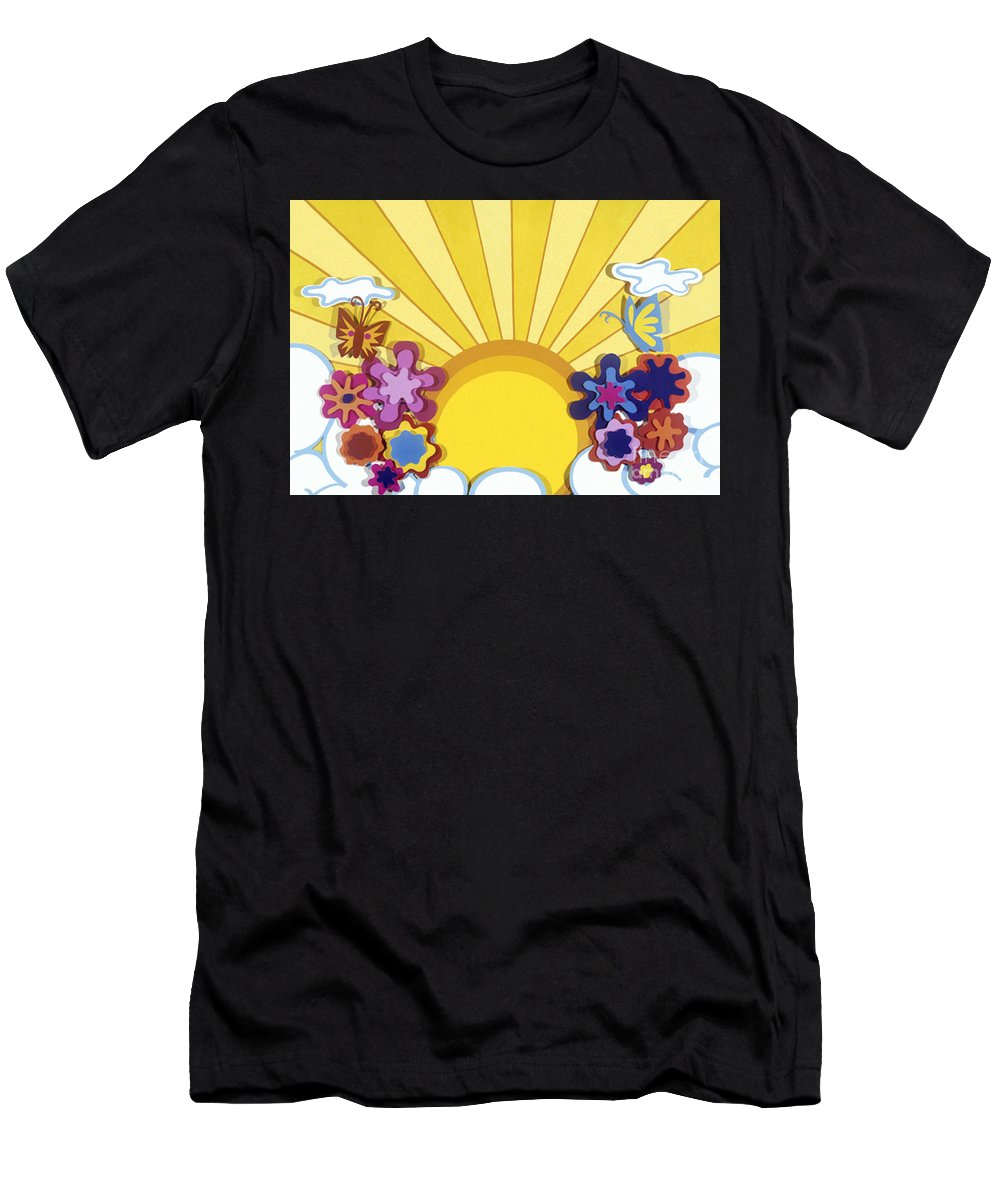 Nature Men's T-Shirt (Athletic Fit) featuring the drawing Sunburst by Lucyna A M Green