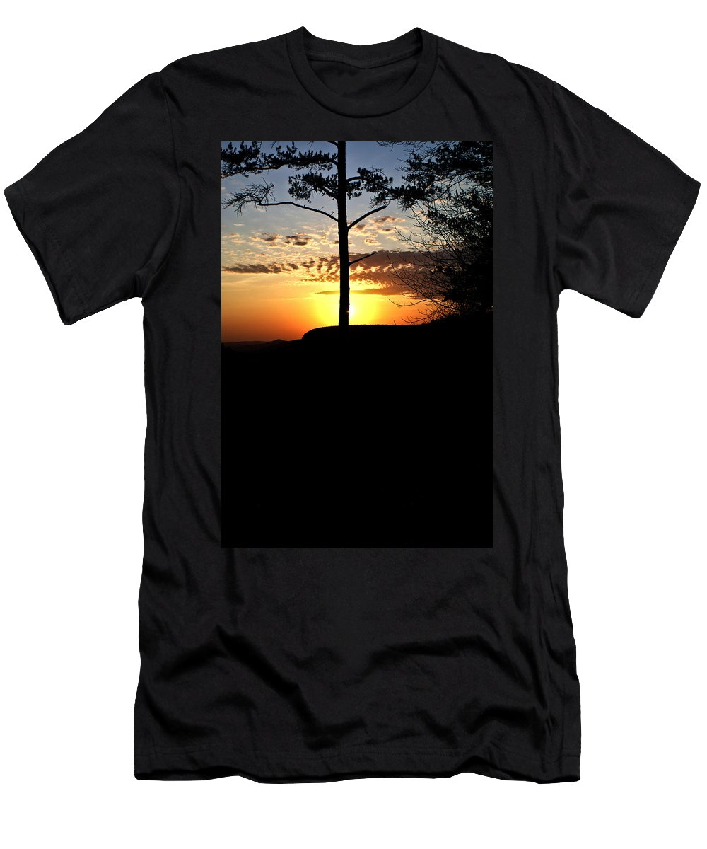 Sunburst Men's T-Shirt (Athletic Fit) featuring the photograph Sunburst Sunset by Douglas Barnett