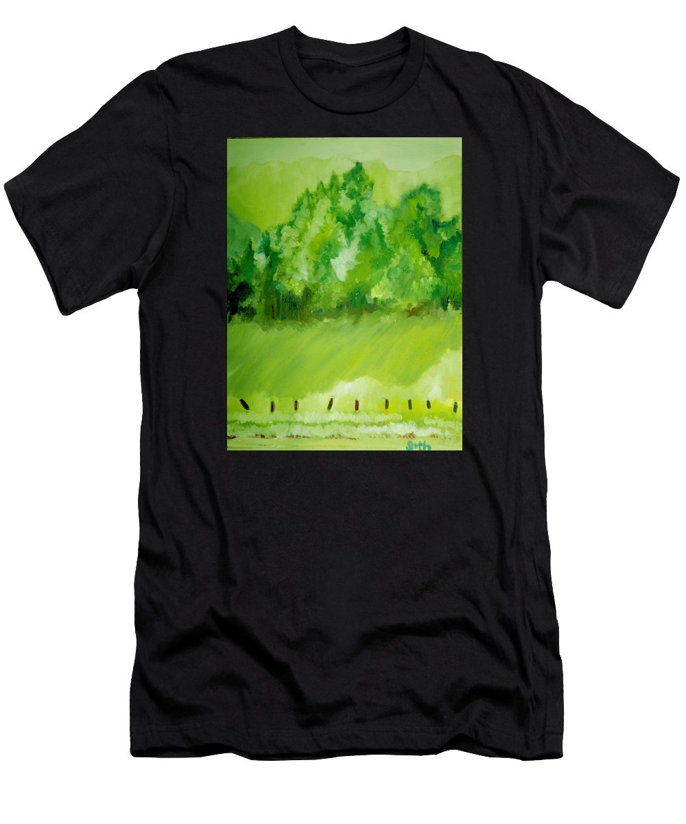 Spring Men's T-Shirt (Athletic Fit) featuring the painting Sunday At Two Thirty by Seth Weaver