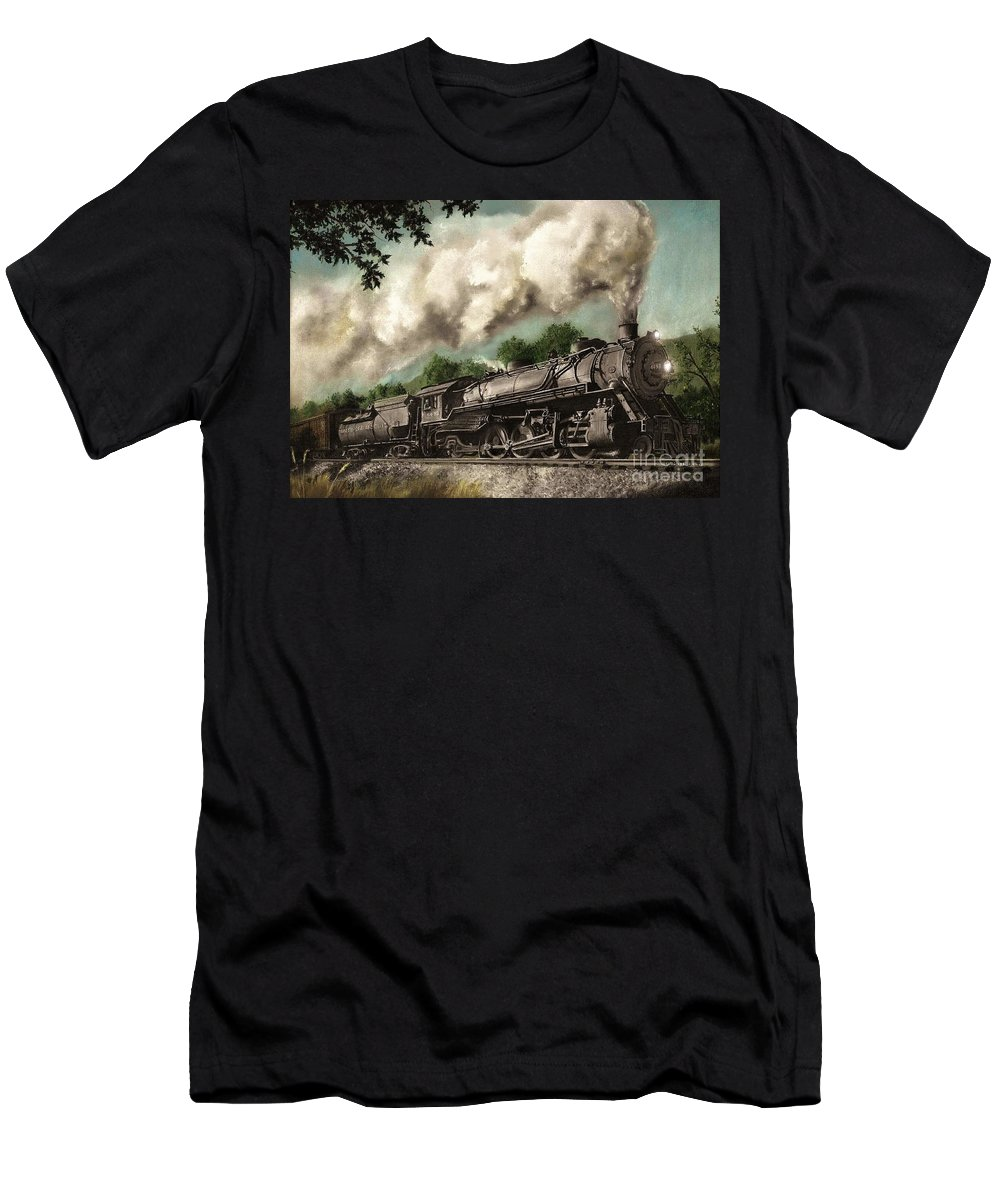 Baltimore & Ohio Railroad B&o Q4 Train Painting Railroad Maryland And Pennsylvania Autumn Fall Colors Steam Engine T-Shirt featuring the painting Sunday Drive by David Mittner