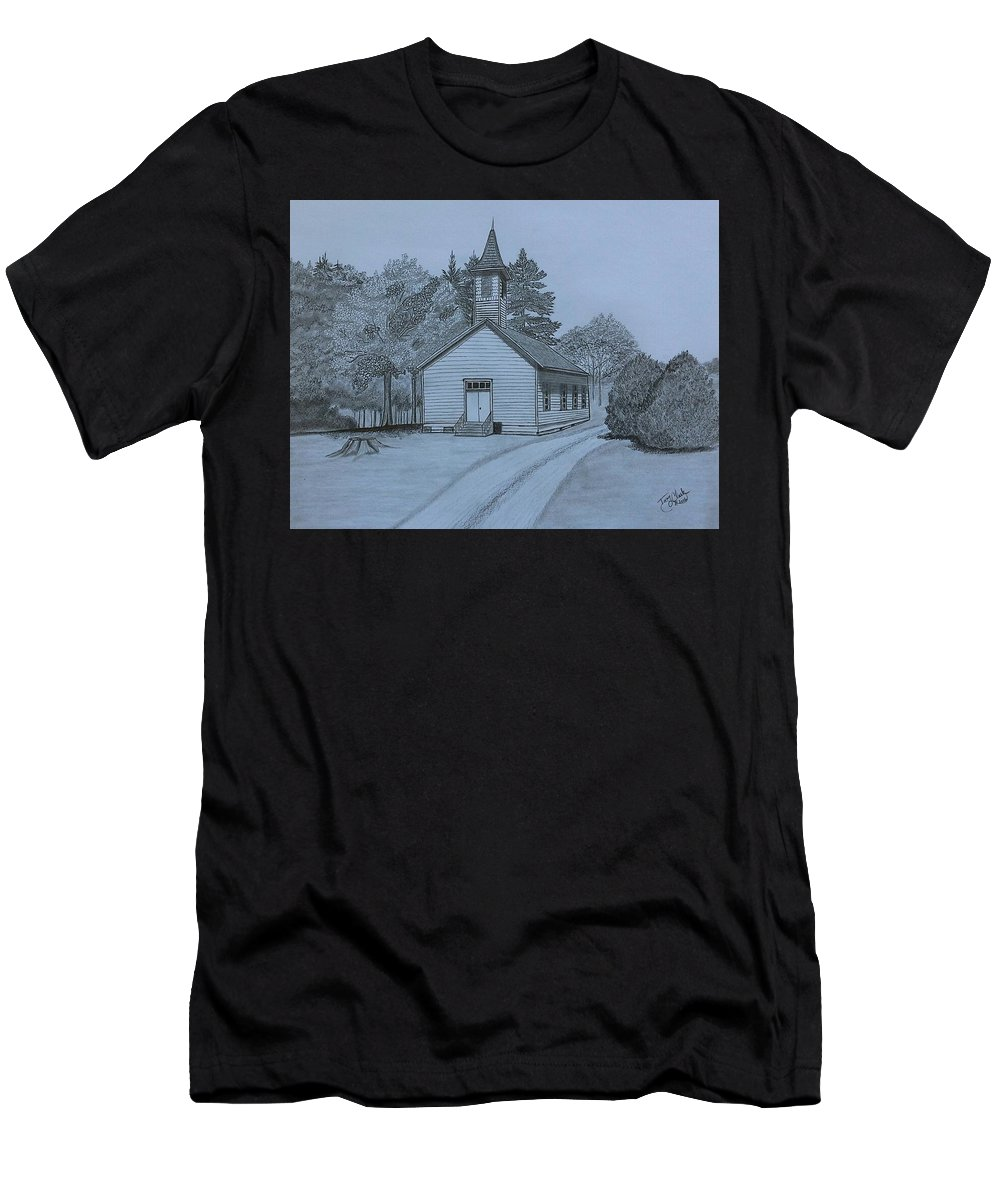 Church Men's T-Shirt (Athletic Fit) featuring the drawing Sunday In Fairview by Tony Clark