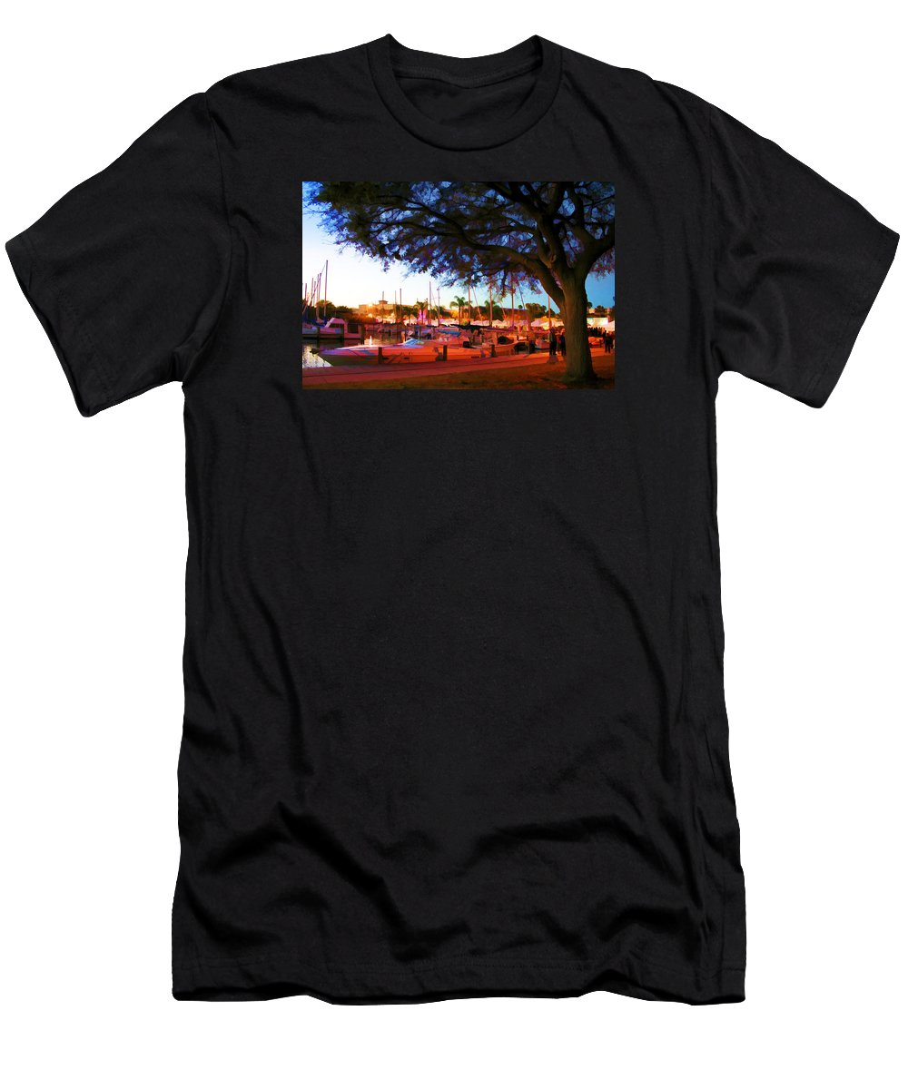 Boat Picture Men's T-Shirt (Athletic Fit) featuring the photograph Sundown At The Marina by Barry Craft