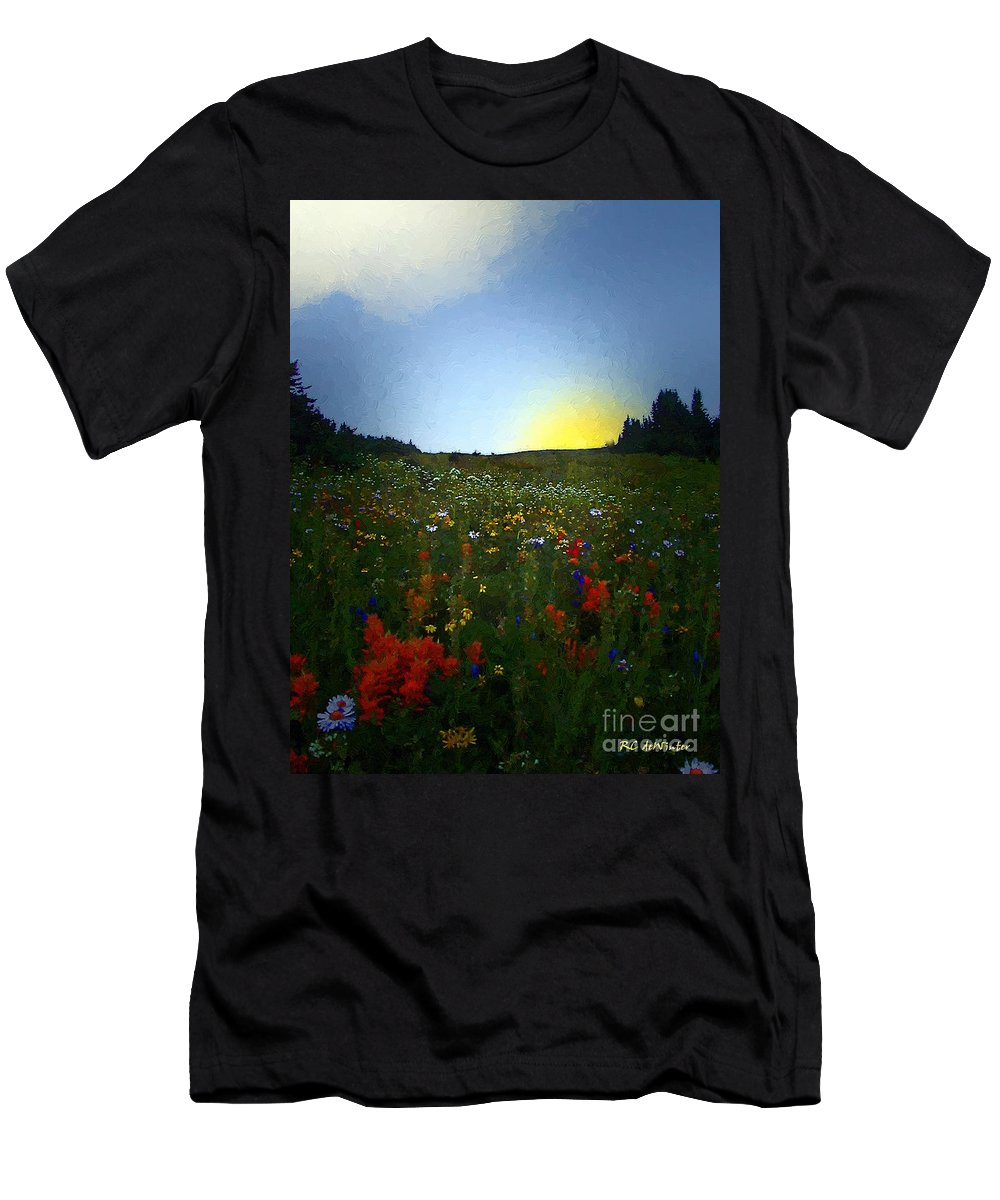 Flowers Men's T-Shirt (Athletic Fit) featuring the painting Sundown Wildflower Meadow by RC DeWinter