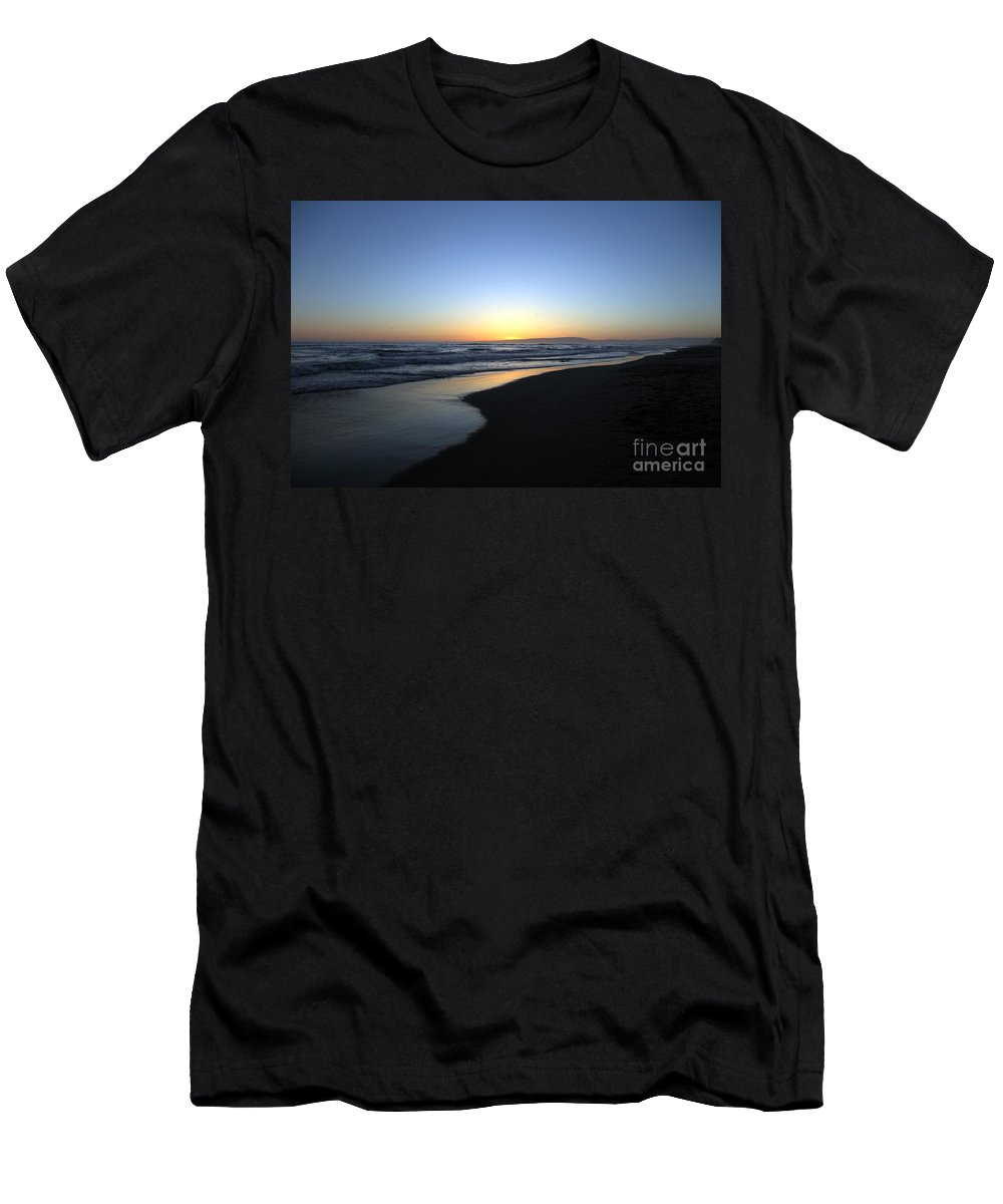 Beaches Men's T-Shirt (Athletic Fit) featuring the photograph Sunet Beach by Amanda Barcon