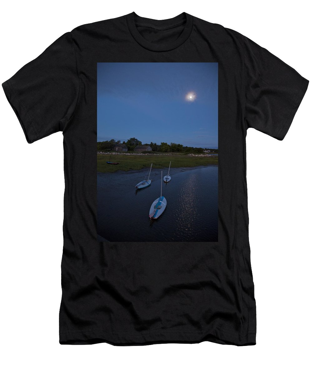Sunfish Men's T-Shirt (Athletic Fit) featuring the photograph Sunfishes In Moonlight by Charles Harden