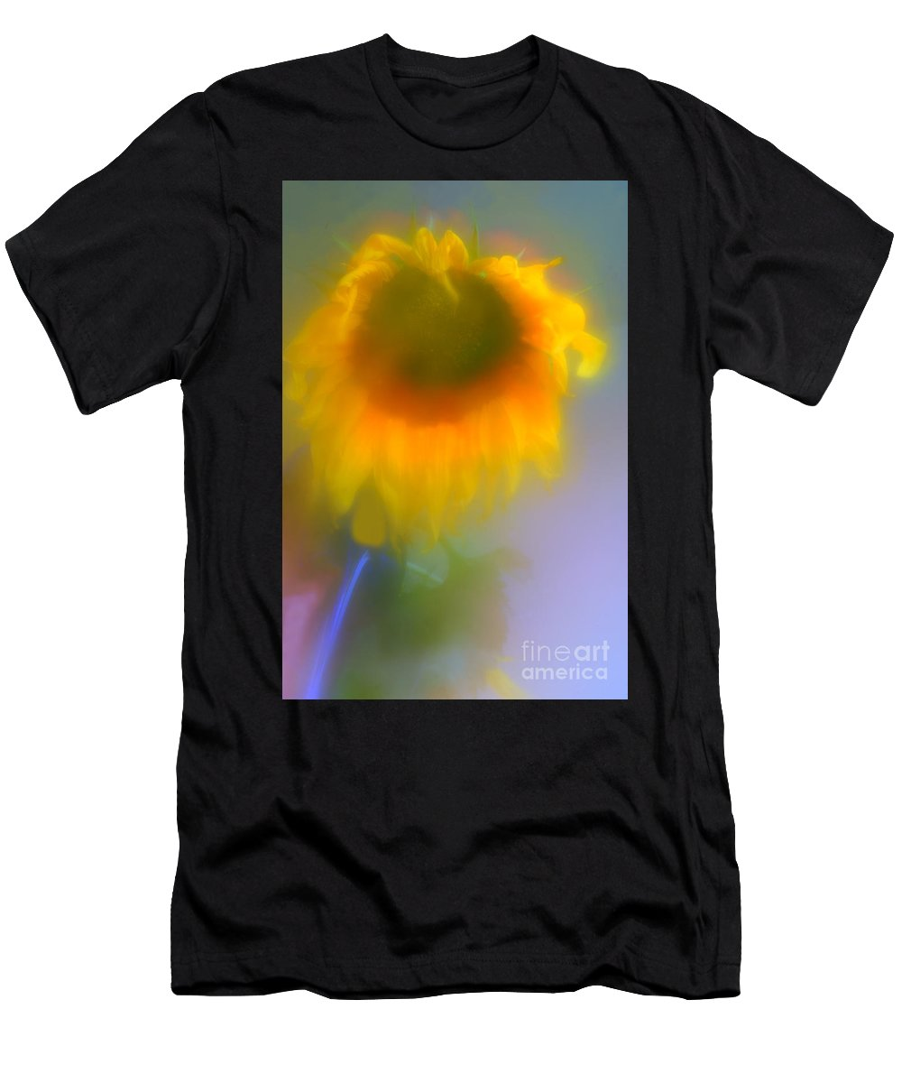 Abstract Men's T-Shirt (Athletic Fit) featuring the photograph Sunflower # 5. by Alexander Vinogradov