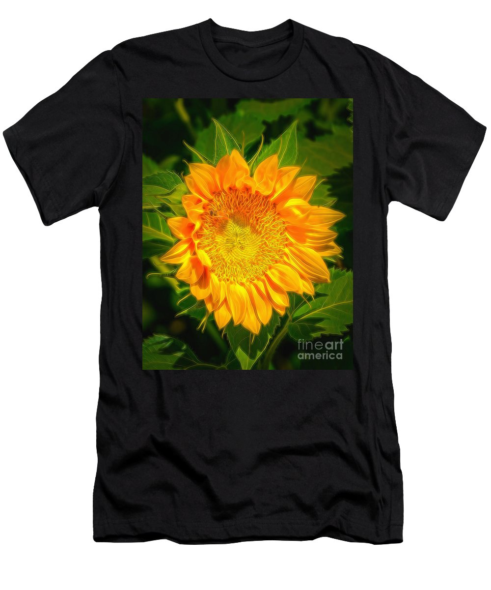 Sunflower Men's T-Shirt (Athletic Fit) featuring the photograph Sunflower 6 by Larry White