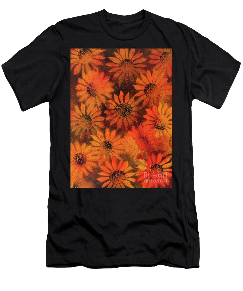 Sunflower Men's T-Shirt (Athletic Fit) featuring the painting Sunflower Field 1.2 by Ian Spicer
