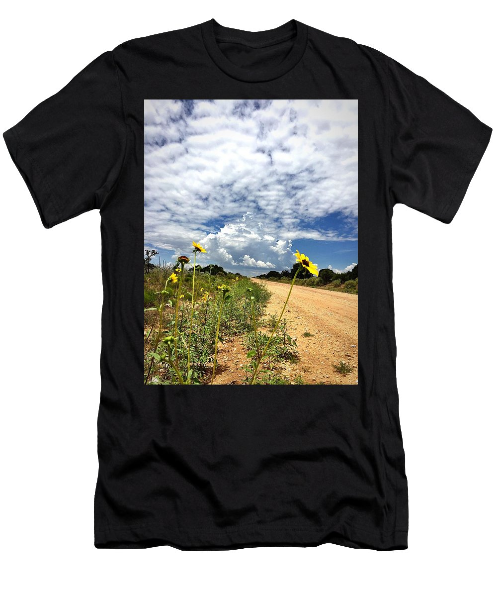 Sunflower Men's T-Shirt (Athletic Fit) featuring the photograph Sunflower Hitchhikers by Brad Hodges