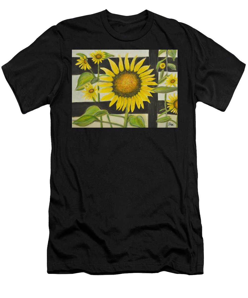 Sunflower Men's T-Shirt (Athletic Fit) featuring the painting Sunflower In Your Face by Teresa French McCarthy
