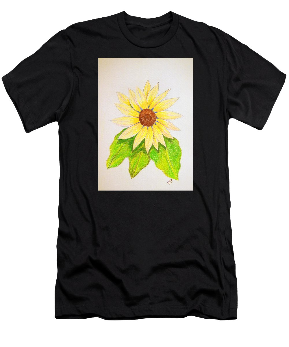 Stationery Card Men's T-Shirt (Athletic Fit) featuring the drawing Sunflower by J R Seymour