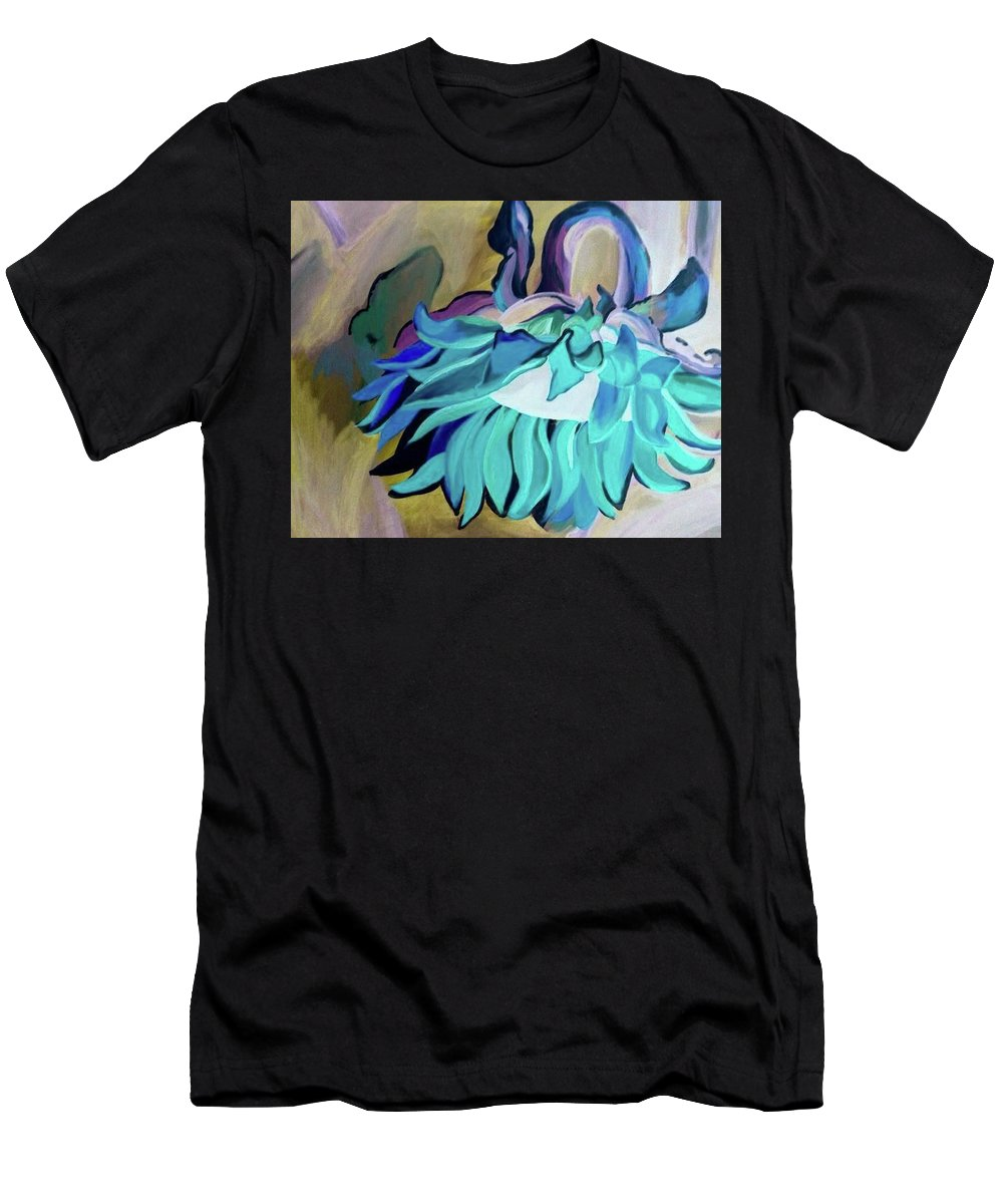 Sunflower Negative Blue Green Abstract Large Stalk Stem Flower Floral Hang Grow Bloom Men's T-Shirt (Athletic Fit) featuring the painting Sunflower by Lori Teich
