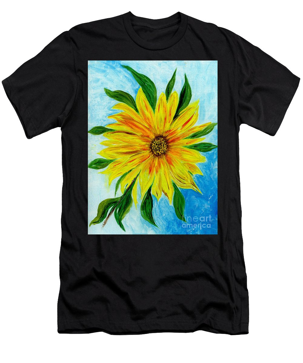 Sunflower Men's T-Shirt (Athletic Fit) featuring the painting Sunflower Sunshine Of Your Love by Anne Gitto