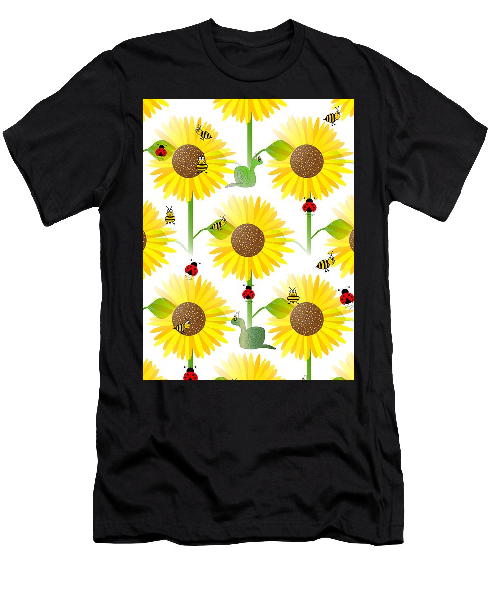 Contemporary Sunflower Pattern Men's T-Shirt (Athletic Fit) featuring the digital art Sunflowers And Bees by Kathleen Sartoris
