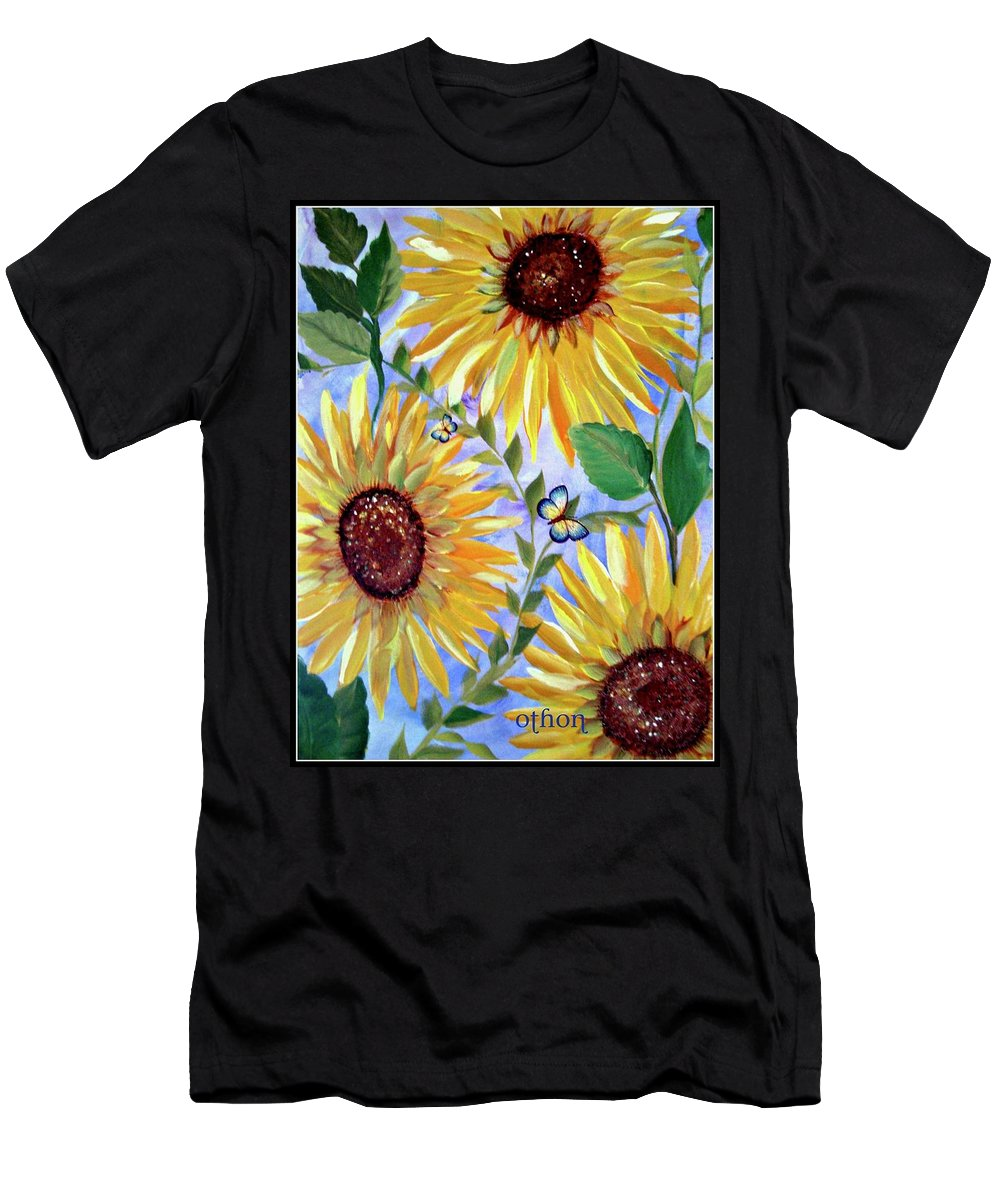 Yellow Sunflowers Men's T-Shirt (Athletic Fit) featuring the painting Sunflowers And Butterflies by Kathy Othon